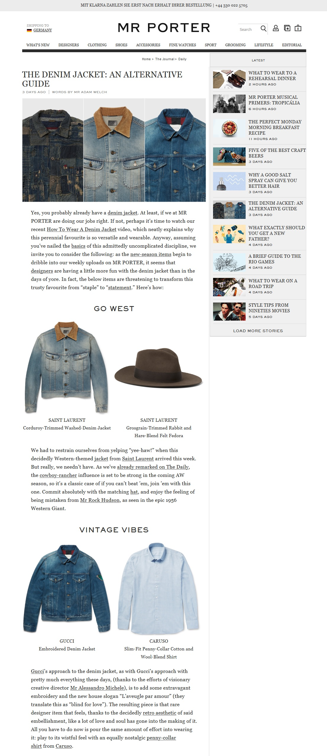 Content Commerce Beispiel Mr Porter Editorial