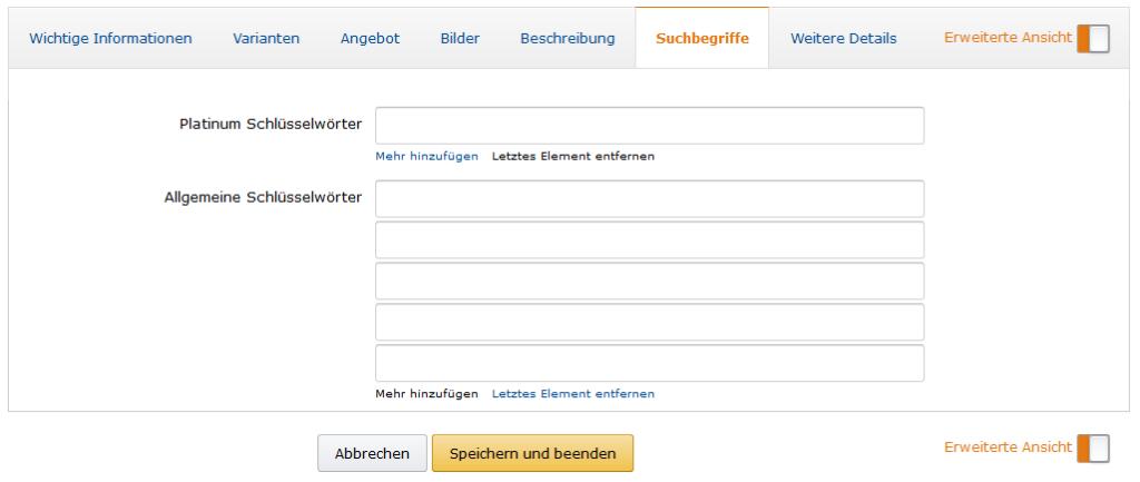 Amazon Seo Optimierung der Allgemeinen Schlüsselwörter