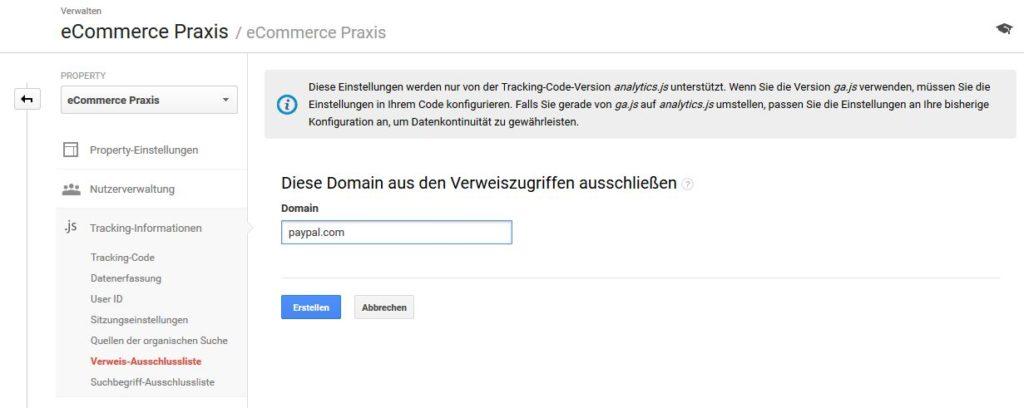Verweis Ausschlussliste zum Ausschließen von Zahlungsanbietern in Google Analytics