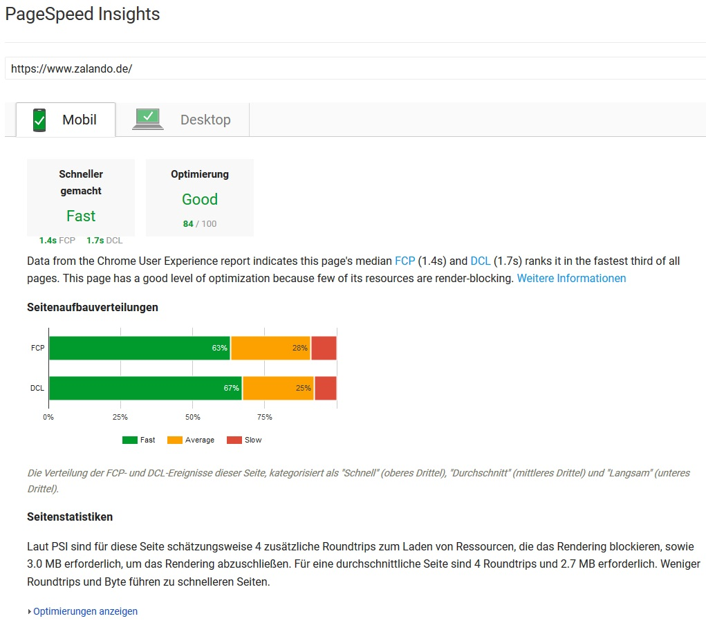 Google PageSpeed Insights Ergebnis